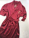 Жіночий атласний халат з іменною вишивкою, фото 10