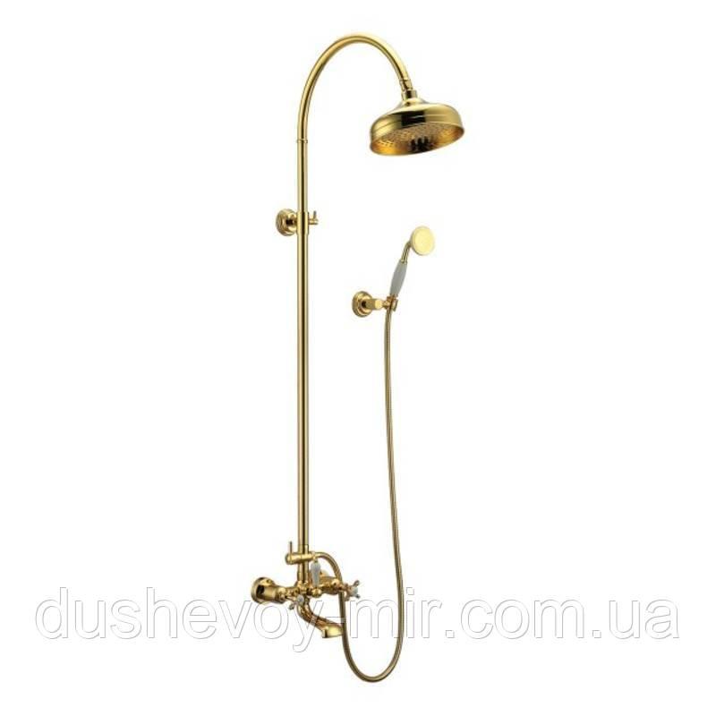 CUTHNA zlato  система душевая (двухвентильный смеситель для ванны, верхний и ручной душ), золото