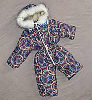 Детский слитный зимний комбинезон на овчине для мальчиков и девочек, фото 1