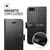 Книжка-Чехол Spigen для iPhone SE/5S/5 Wallet S, Black Leather, фото 1