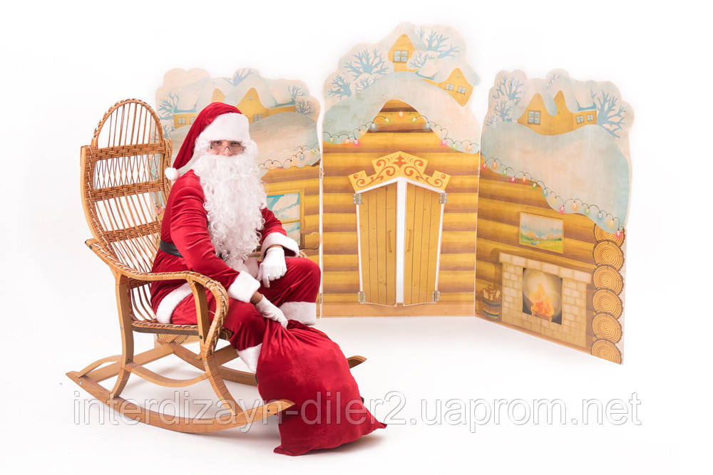 Композиция Санта у камина (деревянный дом, камин)