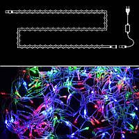 Гирлянда нить светодиодная 100 LED, RGB (мультицвет), силиконовый провод, 9 м