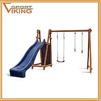 Деревянный игровой комплекс для детей с горкой, фото 1