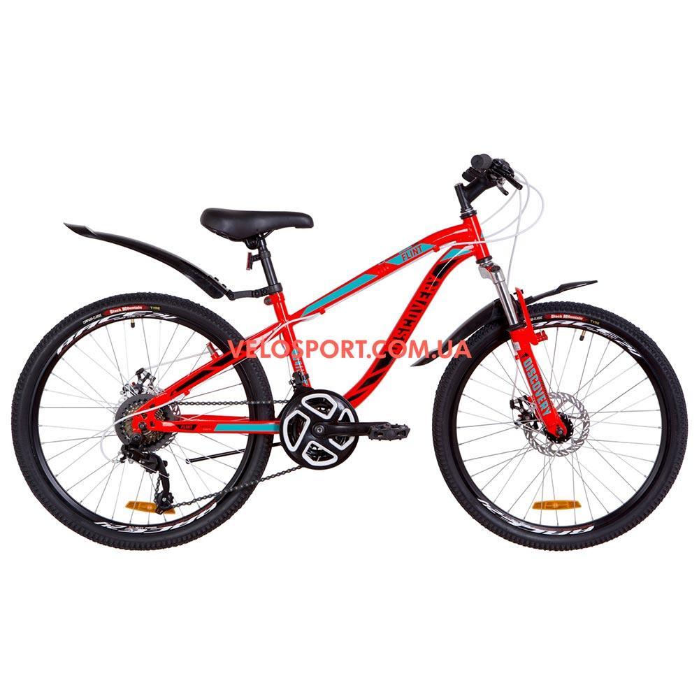 Подростковый велосипед Discovery Flint DD 24 дюйма красно-бирюзовый с черным