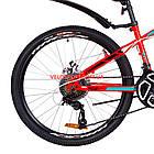 Подростковый велосипед Discovery Flint DD 24 дюйма красно-бирюзовый с черным, фото 3