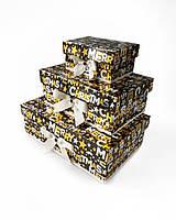 """Прямоугольный новогодний комплект коробок ручной работы в чёрно-золотом тоне с надписью """"Merry Christmas"""""""
