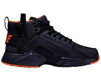 """Мужские зимние кроссовки Nike Air Huarache Acronym """"Black/Orange"""" (Найк) черные"""