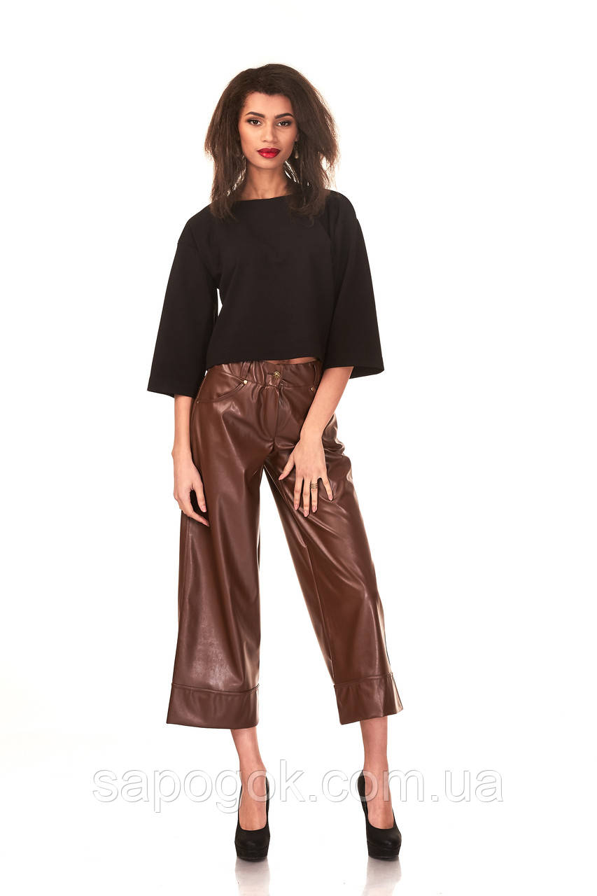 Женский брюки-кюлоты под кожу. КЮЛ005