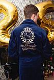 Махровий халат з іменною вишивкою синій, фото 7