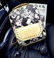 Рюкзак женский Wanyu кожзам Бежевый с розами