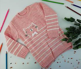 Платье вязанное для девочек Кошечка Розовый Бэмби Украина