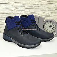 Мужские кожаные ботинки на шнуровке, синяя кожа-крейзи