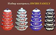Набор эмалированных кастрюль 5 штук со стеклянной крышкой Swiss Family SF-673