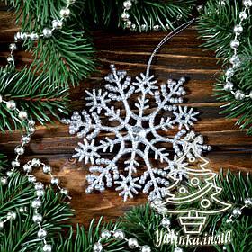 Новогоднее украшение Снежинка классическая c камнем 1 шт CN000
