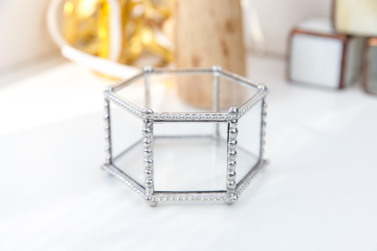 Шкатулка для украшений шестигранная из стекла