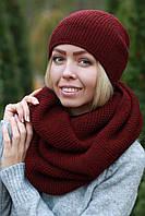 Комплект шапка и шарф снуд шерстяной универсальном размере.(мст)