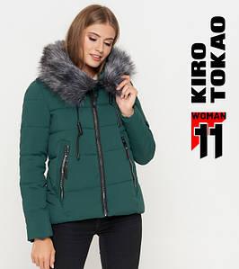 11 Киро Токао   Женская теплая куртка 6529 зеленая