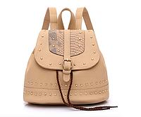 Рюкзак женский кожзам с заклепками Daren Бежевый, фото 1