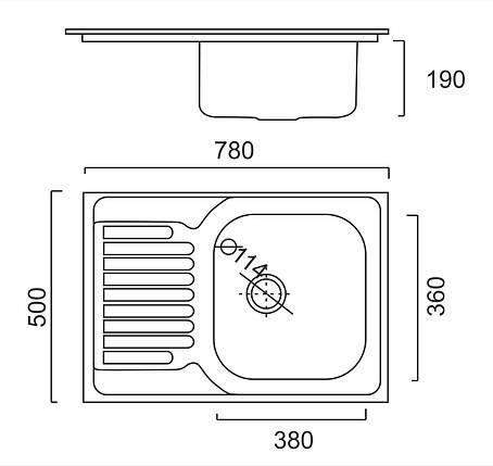 Кухонная мойка из нержавеющей стали ULA HB 7203 ZS satin, фото 2