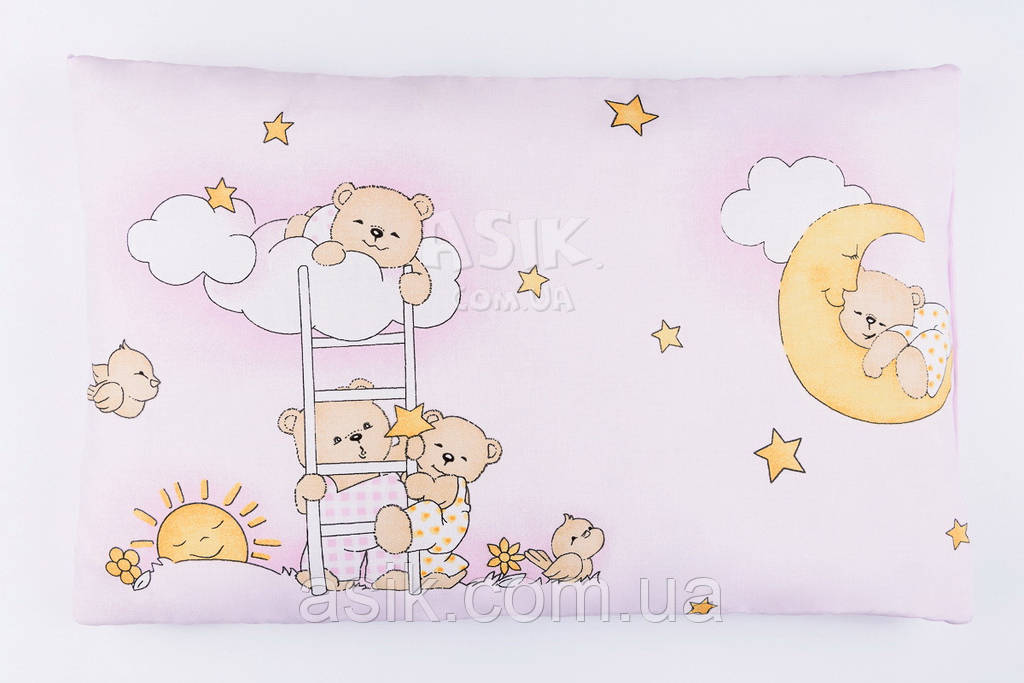 "Подушка детская 60*40 розового цвета ""Мишки на лестнице"""