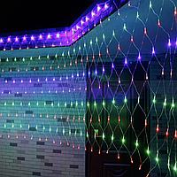 Гирлянда сетка LED 140 диодов 2х1,5м на окно: 4 цвета