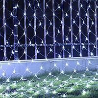 Гирлянда сетка LED 140 диодов 2х1,5м на окно: белый цвет