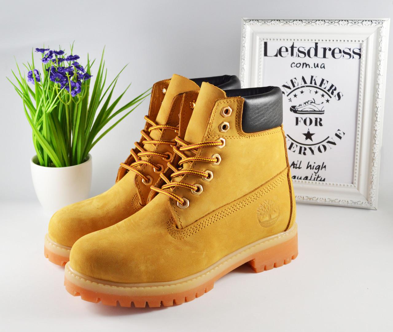 Женские ботинки Timberland кожаные ТЕРМО Тимберленд желтые, бежевые 38