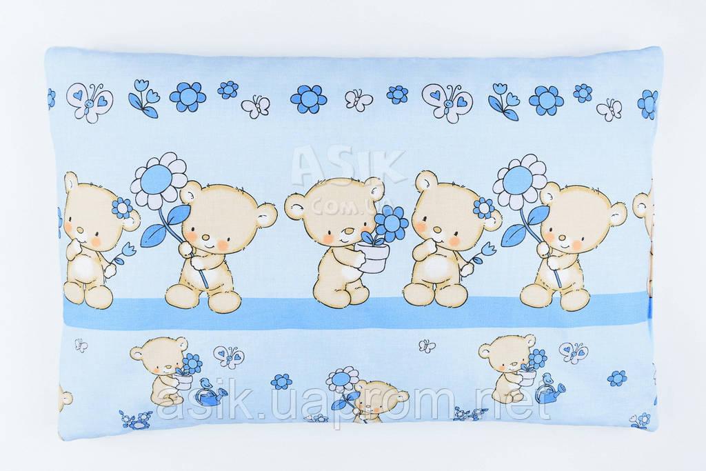 """Подушка детская 60*40 для новорожденных """"Мишки с цветочком"""", цвет голубой."""