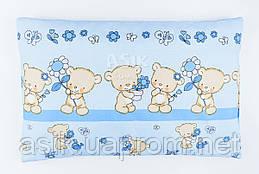 """Подушка дитяча 60*40 для новонароджених """"Ведмедики з квіточкою"""", колір блакитний."""