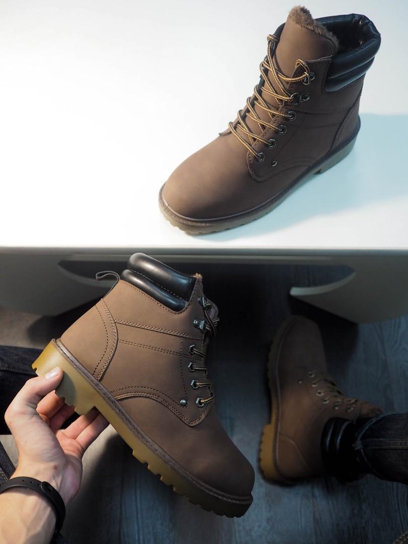 Ботинки мужские на меху тимб кейдж темно-коричневые