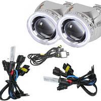 Комплект биксеноновых линз G5 с лампами Fantom 6000К с ангельскими глазками, фото 1