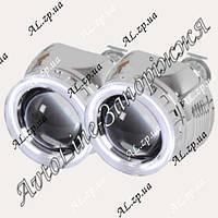 Комплект биксеноновых линз Fantom G5 с лампами 4300К и блоками розжига с ангельскими глазками, фото 1