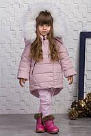 Детская зимняя куртка для девочки, 104 - 128, на флисовой подкладке. Модное зимнее пальто.