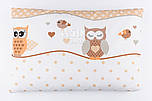 Детская подушка 60*40 для новорожденных кофейного цвета с совами.