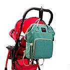 Сумка-рюкзак для мами. Жіночий органайзер для мам і дитячих речей бірюзовий, фото 4