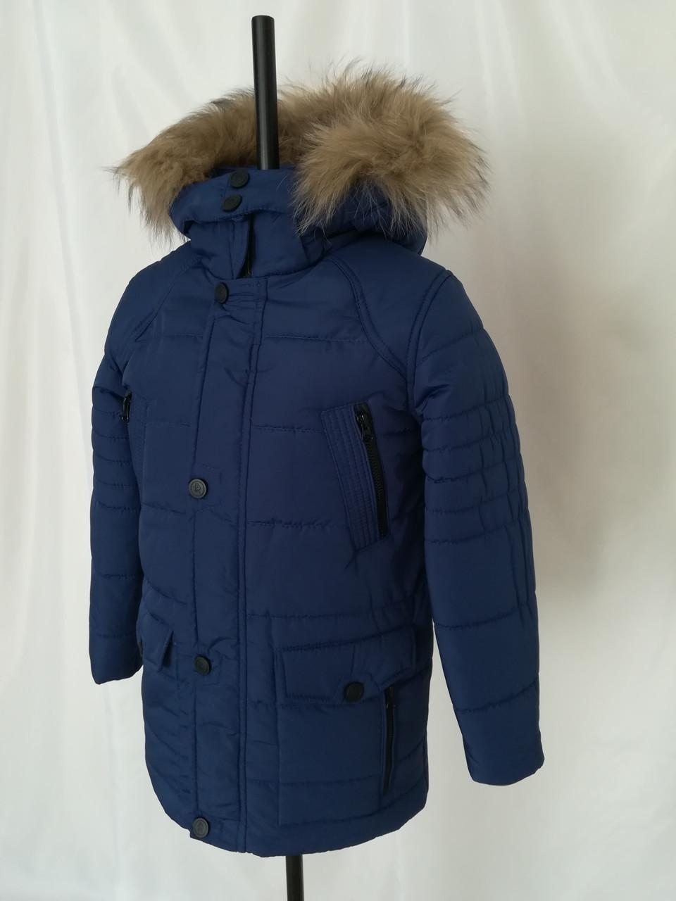 Зимняя куртка парка для мальчика подростка удлиненная  34-42 волна