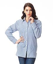 Женская базовая рубашка в полоску. К090