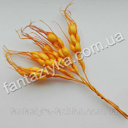 Искусственные колоски пшеницы оранжевые, в пучке 5 штук