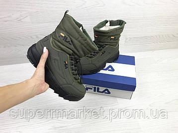 Кроссовки Fila темно-зеленые (зима). Код 6640, фото 2