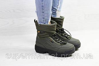 Кроссовки Fila темно-зеленые (зима). Код 6640, фото 3
