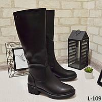 Сапоги женские черные на каблучке, зима, отличное качество 36 размер, женская зимняя обувь