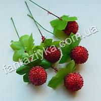 Искусственные ягоды, ежевика красная 13мм на проволоке