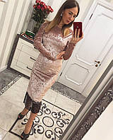 Женское платье миди из бархата с кружевом внизу