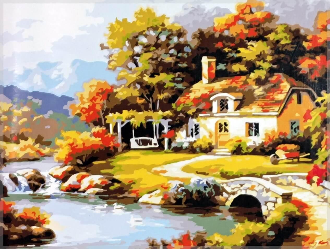 Картина по номерам Уютный дом у реки. Худ. Ким Сунг, 40x50 см., Babylon