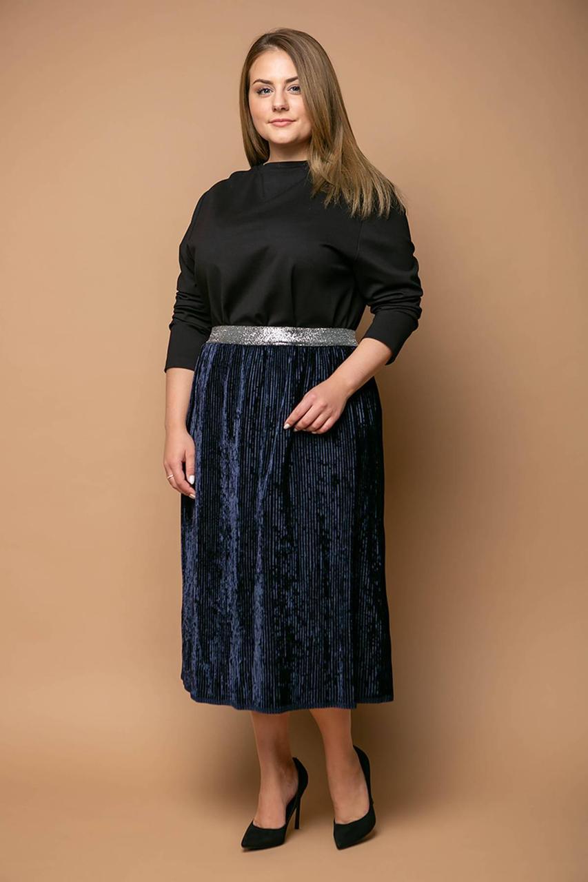 Нарядная юбка из велюра MIKAEL темно-синяя (54-60)