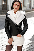 Двухцветная женская куртка-авиатор с меховой отделкой