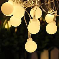 Светодиодная гирлянда-лампочка 10м. Праздники. Теплый белый