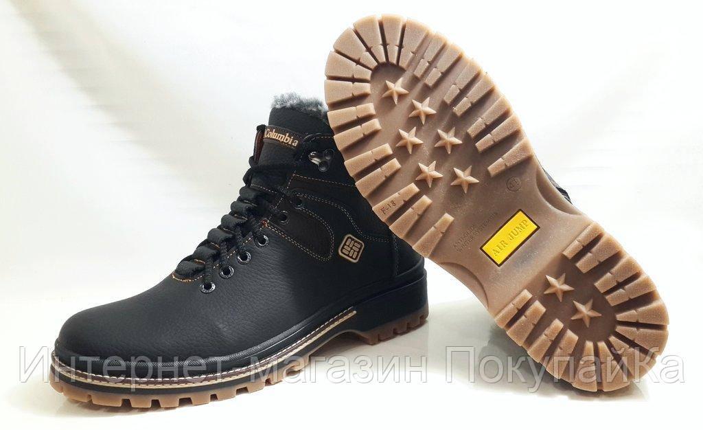 2355c3614e8b Мужские Зимние Кожаные ботинки Columbia 333 шнурок молния чёрные Польша, ...