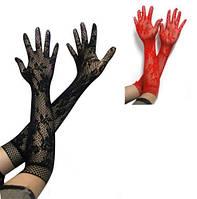 Стильные кружевные перчатки по локоть, красный и черный цвета