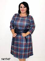 Платье красивое батал, ткань ангора, повседневное батальное платье. Размеры 48, 50, 52, 54, 56.